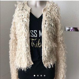 Cream yarn faux fur jacket